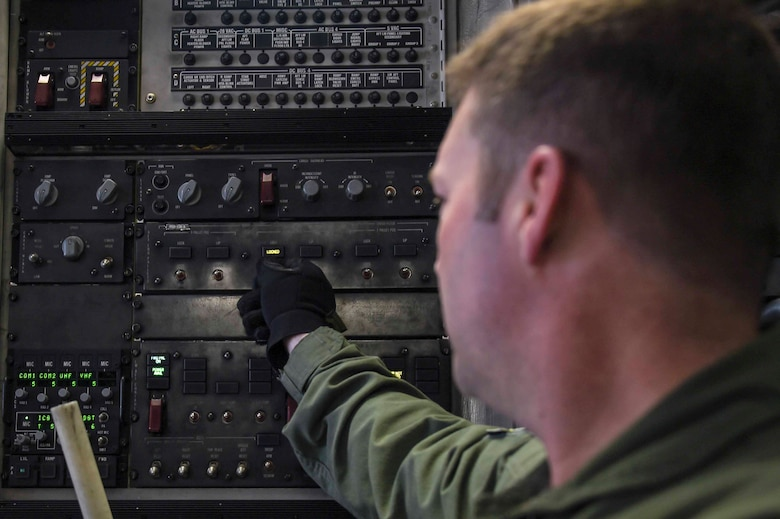 U.S. Air Force Senior Master Sgt. Dale Hipkins, New York Air National Guard's 105th Airlift Wing load master, secures a pallet aboard a C-17 Globemaster III at the Fresno Air National Guard Base, Jan. 21, 2016, in support of the 144th Fighter Wing's participation in Red Flag 16-01. Red Flag is a realistic combat training exercise, which is hosted by Nellis Air Force Base, Nevada and the U.S. Air Force Warfare Center. The 105th AW airlifted 12 pallets and 29 personnel assigned to the 144th FW. (U.S. Air National Guard Senior Airman Klynne Pearl Serrano)