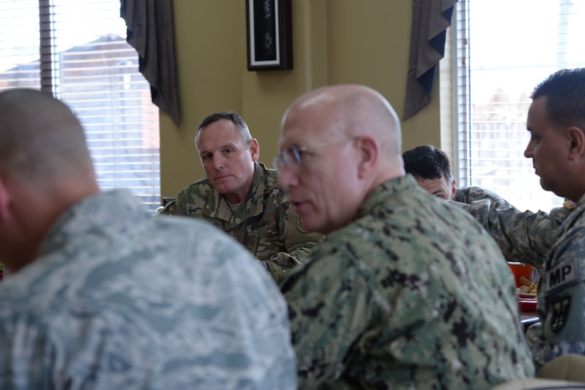 U.S. Army Command Sgt. Maj. William Zaiser, Southern Command senior enlisted leader, listens to U.S. Navy Adm. Kurt W. Tidd, Southern Command commander during a visit to Soto Cano Air Base, Honduras, Jan. 22, 2016. Tidd's visit was his first visit to the base and served as an opportunity to gain a better understanding of JTF-Bravo's mission set, in addition to reaching out to the men and women who help build and enhance the relationships between the U.S. and partner nations in Central America. (U.S. Air force photo by Senior Airman Westin Warburton/Released)