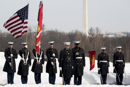 Marines from Marine Barracks Washington, D.C., present arms during the funeral for a Vietnam War and Marine Corps veteran at Arlington National Cemetery, Va., Jan. 26, 2016. (Official Marine Corps photo by Cpl. Chi Nguyen/Released)