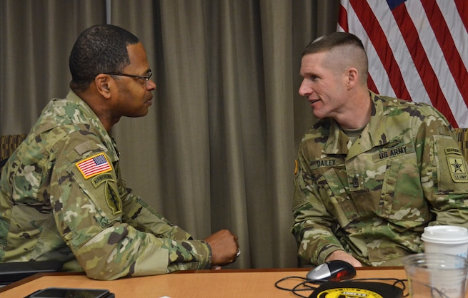 Sgt. Maj. of the Army Daniel Dailey talks with Command Sgt. Maj. James Sims, Command Sgt. Maj. of the U.S. Army Material Command, during a Senior Enlisted Council held at the U.S. Army Human Resources Command, Jan. 20, 2016. The SEC meets quarterly to discuss issues that affect the welfare of Soldiers.  (U.S. Army photo by Sgt. 1st Class Joy Dulen)