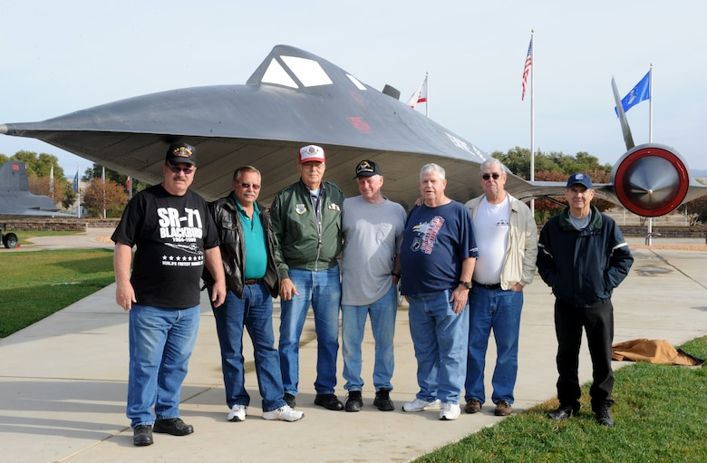 Members of the local Blackbird Maintainers group pose for a picture at Beale Air Force Base, California, Dec. 08, 2015. The group is comprised of former Blackbird maintainers and personnel that contributed to the SR-71 program. (U.S. Air Force photo by Staff Sgt. Robert M. Trujillo)