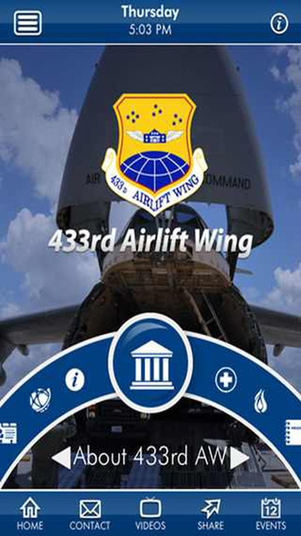 The official 433rd Airlift Wing mobile application is ready for download. The app is available for both iPhone and Android users. (U.S. Air Force photo by Benjamin Faske) (released)