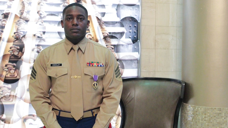 Sgt. DeMonte R. Cheeley stands for a photo after receiving the Purple Heart medal Jan. 26, 2016, at a ceremony in Chattanooga, Tenn. Cheeley received the Purple Heart for injuries he sustained during a July 16, 2015 attack in Chattanooga at the Armed Forces Career Center where he works. An investigation conducted by the FBI and the Naval Criminal Investigative Service determined the attack had been inspired by a foreign terrorist group making Cheeley eligible for the Purple Heart. Cheeley is a Marine recruiter with Recruiting Substation Chattanooga, Recruiting Station Nashville, Tenn.