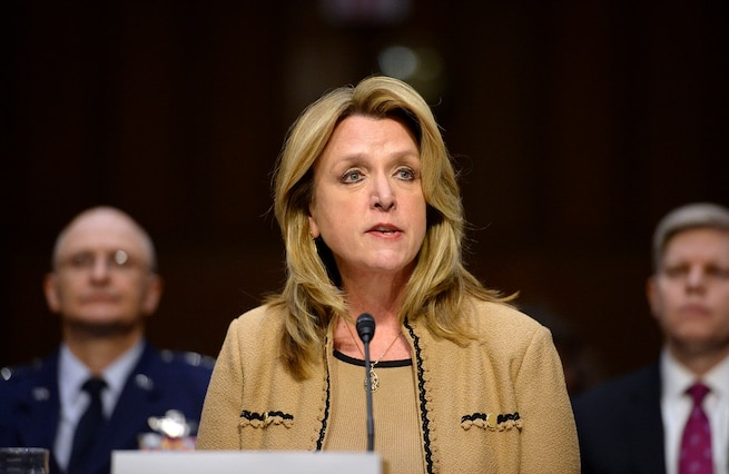 Air Force Secretary Deborah Lee James testifies on the military's space launch capabilities before the Senate Armed Services Committee in Washington, D.C., Jan. 27, 2016. Frank Kendall, not pictured, undersecretary of defense for acquisition, technology and logistics, also testified. U.S. Air Force photo by Scott M. Ash