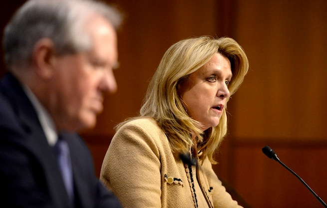 Air Force Secretary Deborah Lee James testifies on the military's space launch capabilities before the Senate Armed Services Committee in Washington, D.C., Jan. 27, 2016. Frank Kendall, foreground, undersecretary of defense for acquisition, technology and logistics, also testified. U.S. Air Force photo by Scott M. Ash