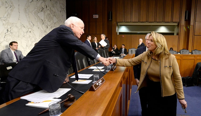 Air Force Secretary Deborah Lee James greets Sen. John McCain, of Arizona, before the start of a Senate Armed Services Committee hearing in Washington, D.C., Jan. 27, 2016. James testified with Frank Kendall III,  undersecretary of defense for acquisition, technology and logistics. U.S. Air Force photo by Scott M. Ash