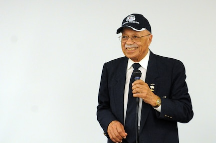 "Oscar Lawton ""Wilk"" Wilkerson, native Chicagoan and Tuskegee Airman, gives remarks during the 85th Support Command's African American/Black History Month observance held at its headquarters, Feb. 7. During the observance, Wilkerson discussed his experiences in the service and held a questions and answers portion with the soldiers there. (U.S. Army photo by Sgt. Aaron Berogan/Released)"