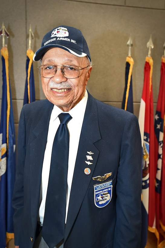 """Oscar Lawton """"Wilk"""" Wilkerson, native Chicagoan and Tuskegee Airman, pauses for a photo during the Army Reserve's 85th Support Command's African American/Black History Month observance at their unit headquarters, Feb. 7. During the observance, Wilkerson discussed his experiences in the service and held a questions and answers portion with the soldiers there. (U.S. Army photo by Sgt. Aaron Berogan/Released)"""
