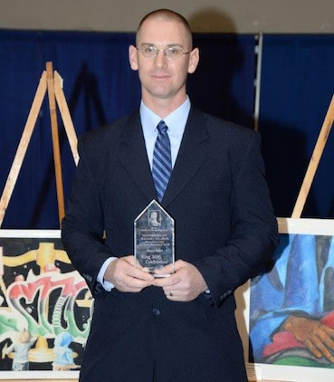 Master Sgt. William Tolleson, procurement chief, Contracts Department, Marine Corps Logistics Command, receives the 2016 Dr. Martin Luther King, Jr., Dream Award at the Albany James H. Gray Sr. Civic Center for the 21st annual King Day Celebration to pay tribute to the life and legacy of Dr. Martin Luther King, Jr., noted civil rights leader, Jan. 19.