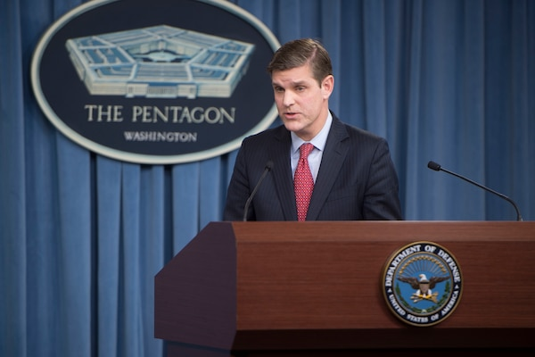 Pentagon Press Secretary Peter Cook conducts a news conference with reporters at the Pentagon, Jan. 27, 2016. DoD photo by Navy Petty Officer 1st Class Tim D. Godbee