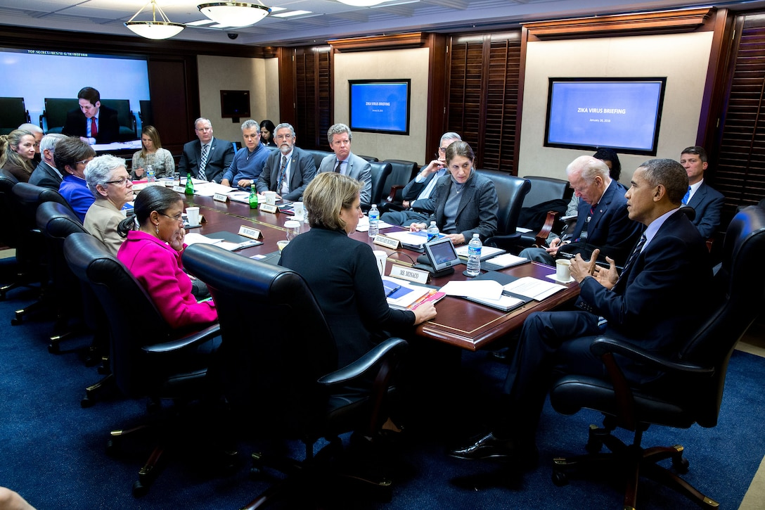 President Barack Obama convenes a meeting on the Zika virus in the Situation Room of the White House, Jan. 26, 2016. White House photo by Pete Souza