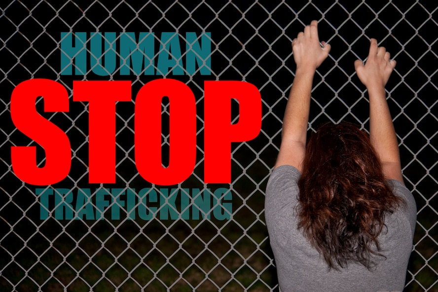 Human trafficking is a crime involving the exploitation of someone for the purposes of involuntary labor or a commercial sex act through the use of force, fraud or coercion. The Department of Defense began the Combating Trafficking In Persons Program in 2014 in order to mitigate the effects of human trafficking not just in the U.S., but also abroad. (U.S. Air Force photo illustration by Airman Shawna L. Keyes)