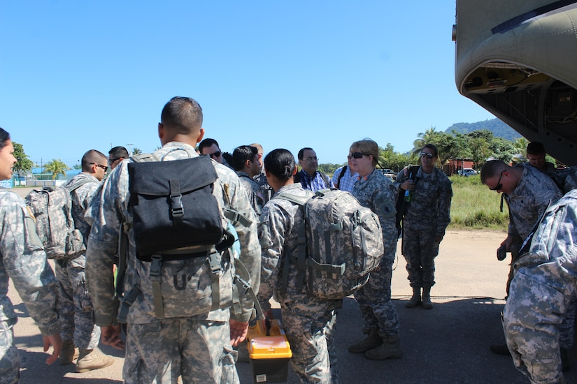 U.S. Army members of the Medical Element with Joint Task Force-Bravo meet with Honduran medical team members during a medical training exercise Jan. 27, 2016 in Gracias a Dios Department (state), Honduras. The MEDEL supported the Honduran medical teams, helping provide the rural population with basic medical care and supplies. (U.S. Army photo by Maria Pinel/ Released)
