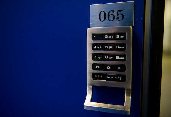 A new keypad lock system displays itself on the outside of a locker door at the Powerhaus Fitness Center on Spangdahlem Air Base, Germany, Jan. 27, 2016. The 52nd Force Support Squadron recently installed keypad lock systems to locker doors at the fitness center. (U.S. Air Force photo by Airman 1st Class Luke Kitterman/Released)