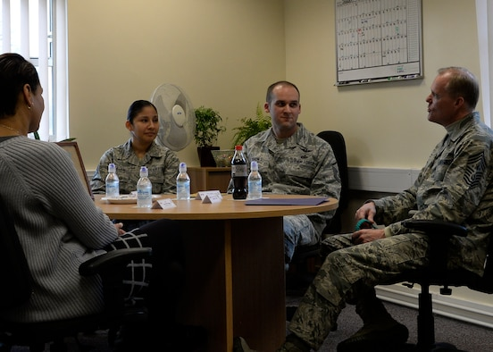 Chief Master Sgt. of the Air Force James Cody visits the Square-D Center for Character and Culture and speaks with victim advocates Jan. 27, 2016, on RAF Mildenhall, England. Cody toured the base to express his gratitude to Airmen, listen to their concerns and answer their questions.  (U.S. Air Force photo by Senior Airman Victoria H. Taylor/Released)