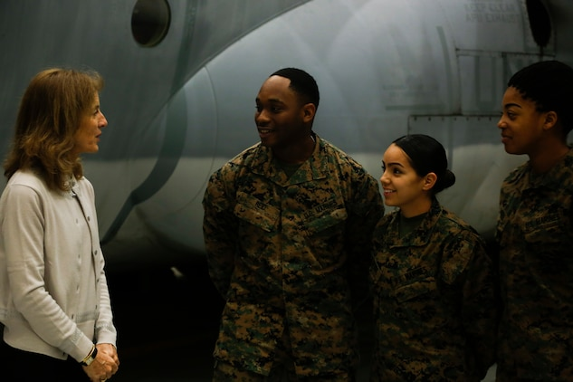 Ambassador Caroline Bouvier Kennedy, U.S. ambassador to Japan, speaks to Marines with Marine Aerial Refueler Transport Squadron 152 (VMGR-152) at Marine Corps Air Station Iwakuni, Japan, Jan. 28, 2016. This is Ambassador Kennedy's first official visit to MCAS Iwakuni. While at the squadron's hangar, Kennedy viewed a KC-130J Super Hercules, gaining an understanding on the multiple capabilities of the aircraft in the Pacific theater. This visit also helped the ambassador better understand MCAS Iwakuni's community and witness the ongoing transformation of the air station through the multitude of construction projects.