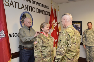 Maj. Jodi Smith, a strategic plans officer with the U.S. Army Corps of Engineers, Transatlantic Division, received the Army Engineering Association's Bronze deFleury Medal Dec. 15 for her exemplary service to the engineer regiment.