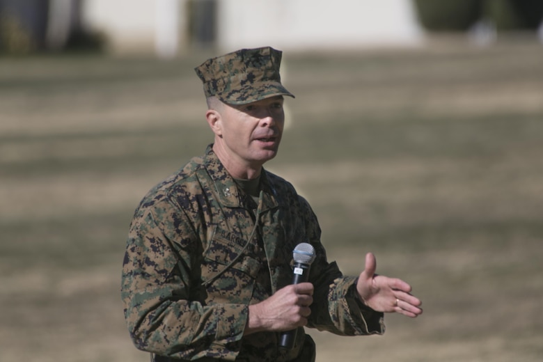 Col. Jay M. Bargeron, former commanding officer, 7th Marine Regiment, gives a speech during the regiment's change of command ceremony, at Lance Cpl. Torrey L. Gray Field, Dec. 18, 2015. (Official Marine Corps photo by Lance Cpl. Thomas Mudd/Released)