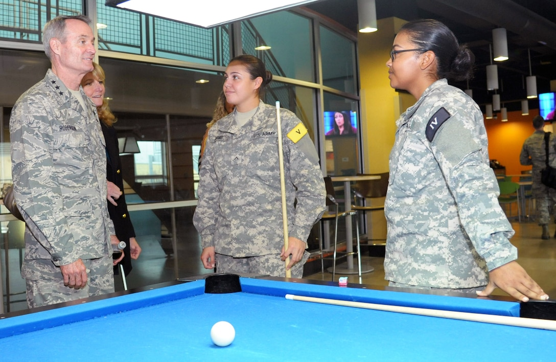 Lt. Gen. Darryl Roberson, commander of Air Education and Training Command, speaks to Soldiers during a tour of the Student Activities Center Jan. 20 at Joint Base San Antonio-Fort Sam Houston. The AETC commander, command chief master sergeant and their spouses were provided a 502nd Air Base Wing immersion tour across Joint Base San Antonio.