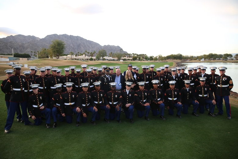 Marine Corps Communication-Electronics School Marines meet Phil Mickelson, professional golfer, and wife, Amy, along with U.S. Army Command Sgt. Maj. Patrick Alston, command senior enlisted leader, United States Strategic Command, during the Career Builder Challenge Military Appreciation Ceremony at the Tom Weiskopf Private Course located in the Professional Golfers Association of America Course West in La Quinta, Calif., Jan. 23, 2016. (Official Marine Corps photo by Cpl. Julio McGraw/ Released)