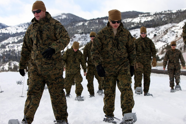 Sgt. Aaron Burke and Cpl. Dustin B. Moore use snow shoes for the first time in front of the Sierra Mountains during cold weather training at Marine Corps Mountain Warfare Training Center, Calif., Jan. 9, 2016. The cold weather training done in the Sierra Mountains is a warm-up to Exercise Cold Response 2016 in Norway. More than 800 Marines participated in the two-week-long exercise that taught basic mobility in snow, defensive and offensive tactics as well as basic cold weather and high altitude conditions training. 2nd Low Altitude Air Defense Battalion provides anti-air warfare support for the Marine Air Ground Task Force. Burke is the section leader for 2nd LAAD Bn.'s 1st platoon, B Battery and Moore is a team leader with 2nd LAAD Bn.'s B Battery. (U.S. Marine Corps photo by Cpl. Jason Jimenez/Released)
