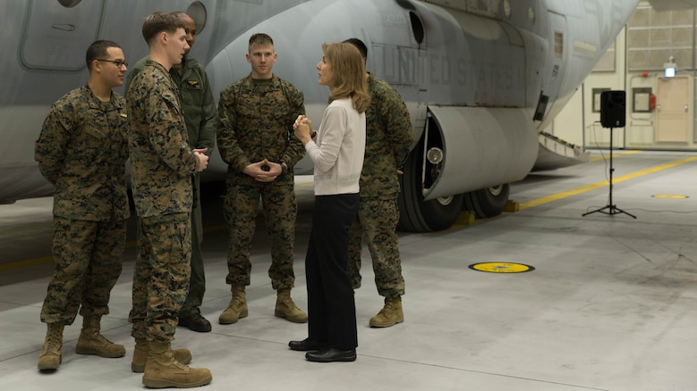Caroline B. Kennedy, U.S. ambassador to Japan, speaks to Marines with Marine Aerial Refueler Transport Squadron 152 (VMGR-152) at Marine Corps Air Station Iwakuni, Japan, Jan. 28, 2016. This is Ambassador Kennedy's first official visit to MCAS Iwakuni. While at the squadron's hangar, Kennedy viewed a KC-130J Super Hercules aircraft, gaining an understanding on the multiple capabilities of the aircraft in the Pacific theater. This visit also helped the ambassador better understand MCAS Iwakuni's community and witness the ongoing transformation of the air station through the multitude of construction projects.