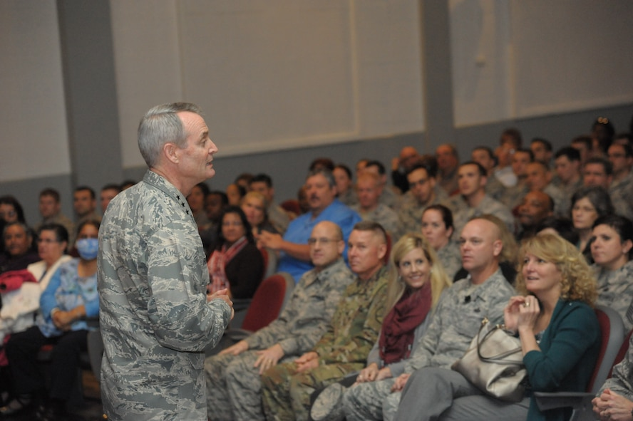 Lt. Gen. Darryl Roberson, Commander of Air Education and Training Command, briefs members of the 502nd Air Base Wing during an all call at the Bob Hope Theater Jan. 21, Joint Base San Antonio-Lackland.  Roberson was provided a 502nd ABW immersion tour where he visited units throughout JBSA-Randolph, Lackland and Fort Sam Houston, Jan. 20-22.  The 502nd ABW is responsible for installation support across all JBSA locations.  (U.S. Air Force photo by Joel Martinez)