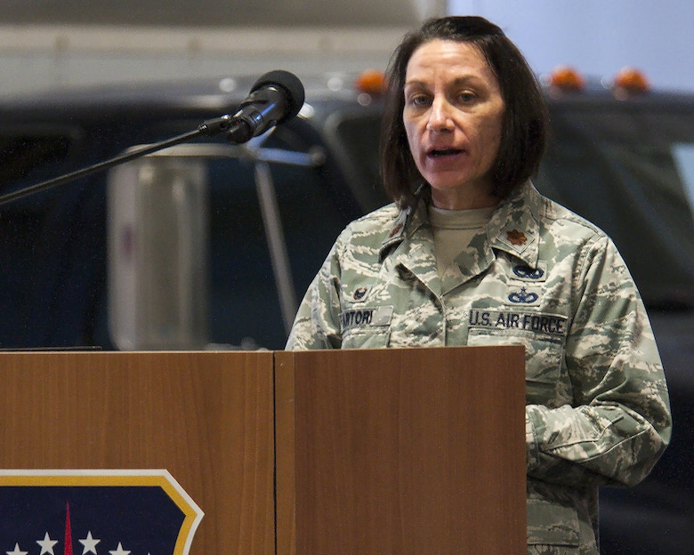 Maj. Jacquie Sartori, 790th Maintenance Squadron commander, speaks to the crowd at the 790th MXS redesignation ceremony Jan. 27, 2016, in the 90th Maintenance Group Maintenance High Bay on F.E. Warren Air Force Base, Wyo. Sartori became the first commander of the 790th MXS when the designation was created to replace the 90th Maintenance Operations Squadron — a change that brings the squadron in line with the naming conventions of maintenance squadrons throughout the Air Force. (U.S. Air Force photo by Senior Airman Jason Wiese)