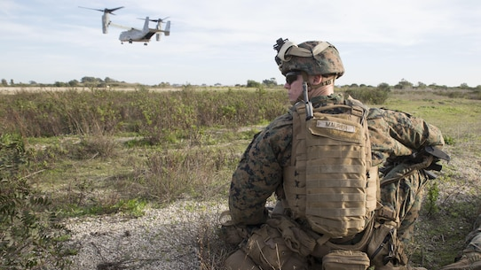 U.S. Marine Cpl. Kyle Maurer, machine gunner with Special-Purpose Marine Air-Ground Task Force Crisis Response-Africa, participates in an alert-force drill at Naval Station Rota, Spain, January 23, 2016. The alert force tested the unit's capabilities by simulating the procedures of reacting to a time-constrained, crisis-response mission.
