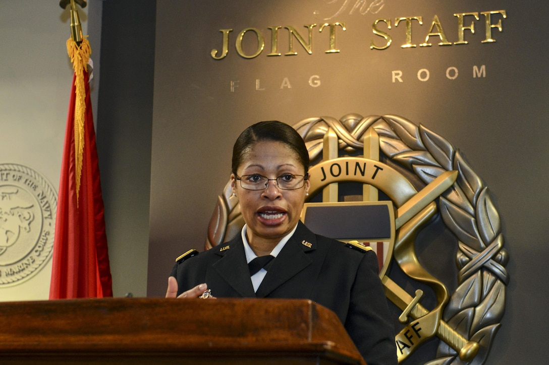 Army Maj. Gen. Marcia M. Anderson, the Army's first female African-American two-star general, speaks about the contributions of African-American women in the military during an event at the Pentagon, Feb. 25, 2014. Army photo by Lisa Ferdinando