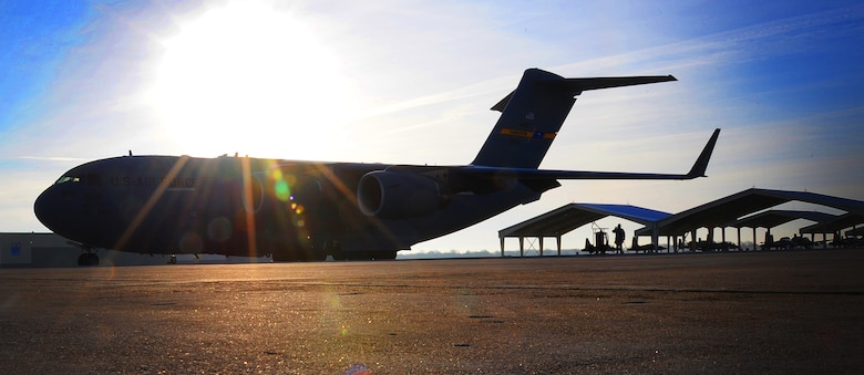 During preparation for a combat search and rescue exercise, a U.S. Air Force C-17 Globemaster III, assigned to the 437th Airlift Wing at Joint Base Charleston, S.C., sits on the flightline at Whiteman Air Force Base, Mo., Jan. 24, 2016. The aircraft was loaded with more than 80 personnel from the 442d Fighter Wing who, in conjunction with their wing's A-10 Thunderbolt II aircraft, will provide close air support during the exercise at Patrick AFB, Fla. (U.S. Air Force photo by Airman 1st Class Michaela R. Slanchik)