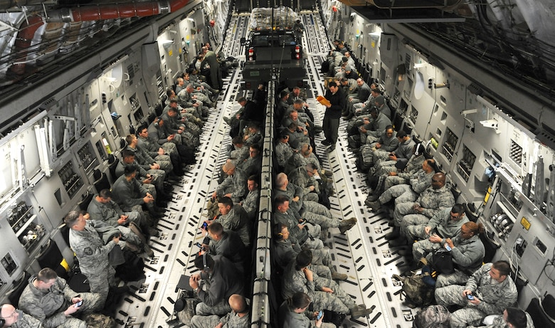 Personnel from the 442d Fighter Wing at Whiteman Air Force Base, Mo., prepare for take-off in a C-17 Globemaster III from Charleston AFB, S.C., Jan. 24, 2016. The aircraft was loaded with more than 14,000 pounds of cargo for a combat search and rescue exercise at Patrick AFB, Fla. (U.S. Air Force photo by Airman 1st Class Michaela R. Slanchik)