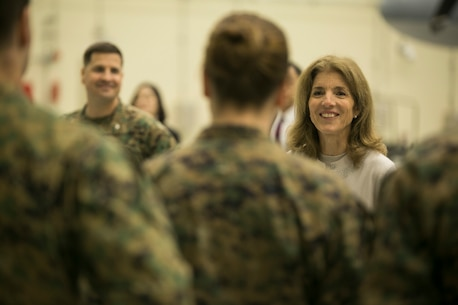 Ambassador Caroline Bouvier Kennedy, 29th United States ambassador to Japan, addresses Marines of Marine Aerial Refueler Transport Squadron (VMGR) 152 during her visit to Marine Corps Air Station Iwakuni, Japan, Jan. 28, 2016. This is her first time since appointed as ambassador back in 2013 by President Barack Obama that Kennedy has visited MCAS Iwakuni. Kennedy, the daughter of John F. Kennedy, the 35th President of the United States, met with Marines of VMGR-152 and expressed her gratitude for their service to their country. (U.S. Marine Corps photo by Cpl. Carlos Cruz Jr./RELEASED)