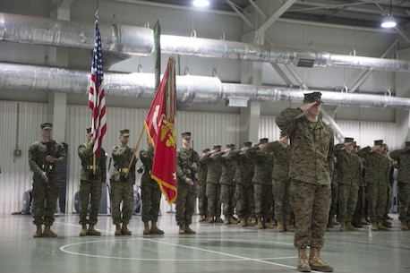 Marines with 3rd Battalion, 8th Marines salute the colors during the transfer-of-authority ceremony aboard Mihail Kognalniceanu Air Base, Romania, Jan. 22, 2016. The rotational force of Marines and sailors gives U.S. European Command the continuous capability to integrate with NATO and partner nations in Eastern Europe. (U.S. Marine Corps photo by Cpl. Immanuel M. Johnson/Released)