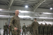 Lieutenant Col. Kemper Jones, commanding officer for 3rd Battalion, 8th Marines speaks during the transfer-of-authority ceremony aboard Mihail Kognalniceanu Air Base, Romania, Jan. 22, 2016. The rotational force of Marines and sailors gives U.S. European Command the continuous capability to integrate with NATO and partner nations in Eastern Europe. (U.S. Marine Corps photo by Cpl. Immanuel M. Johnson/Released)