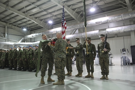 Sgt. Maj. Paul Costa, left, sergeant major of 3rd Battalion, 8th Marines, cases the colors alongside Lt. Col. Kemper Jones, right, commanding officer of 3rd Battalion, 8th Marines during the transfer of authority ceremony aboard Mihail Kognalniceanu Air Base, Romania, Jan. 22, 2016. The rotational force of Marines and sailors gives U.S. European Command the continuous capability to integrate with NATO and partner nations in Eastern Europe. (U.S. Marine Corps photo by Cpl. Immanuel M. Johnson/Released)