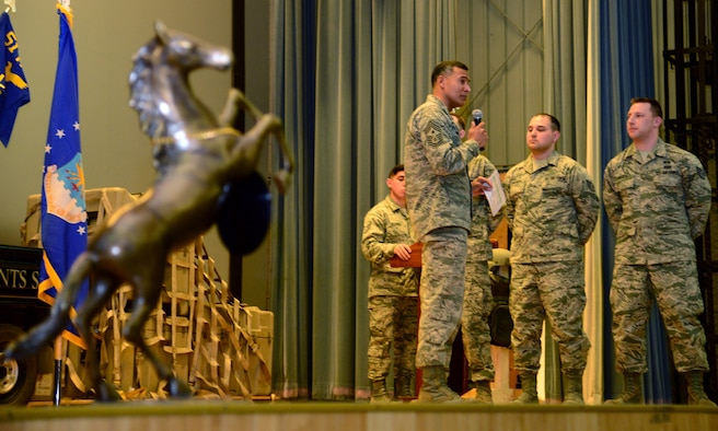 Chief Master Sgt. Terrence Greene, 51st Fighter Wing command chief, speaks with Airmen during a promotion ceremony March 31, 2015.(U.S. Air Force photo by Staff Sgt. Amber Grimm/Released