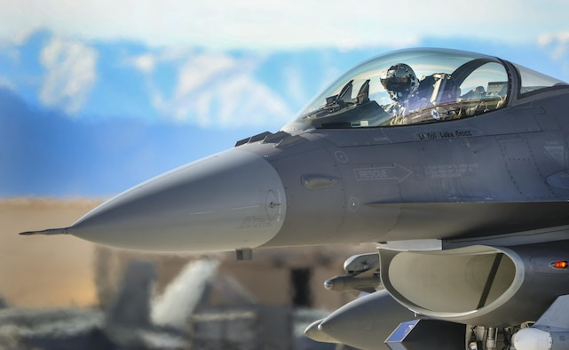 An F-16 Fighting Falcon pilot prepares for takeoff during Red Flag 16-1 at Nellis Air Force Base, Nev., Jan. 25, 2016. Red Flag is a realistic combat exercise involving U.S. and allied air forces conducting training operations on the 15,000 square mile Nevada Test and Training Range. (U.S. Air Force photo/Airman 1st Class Kevin Tanenbaum)