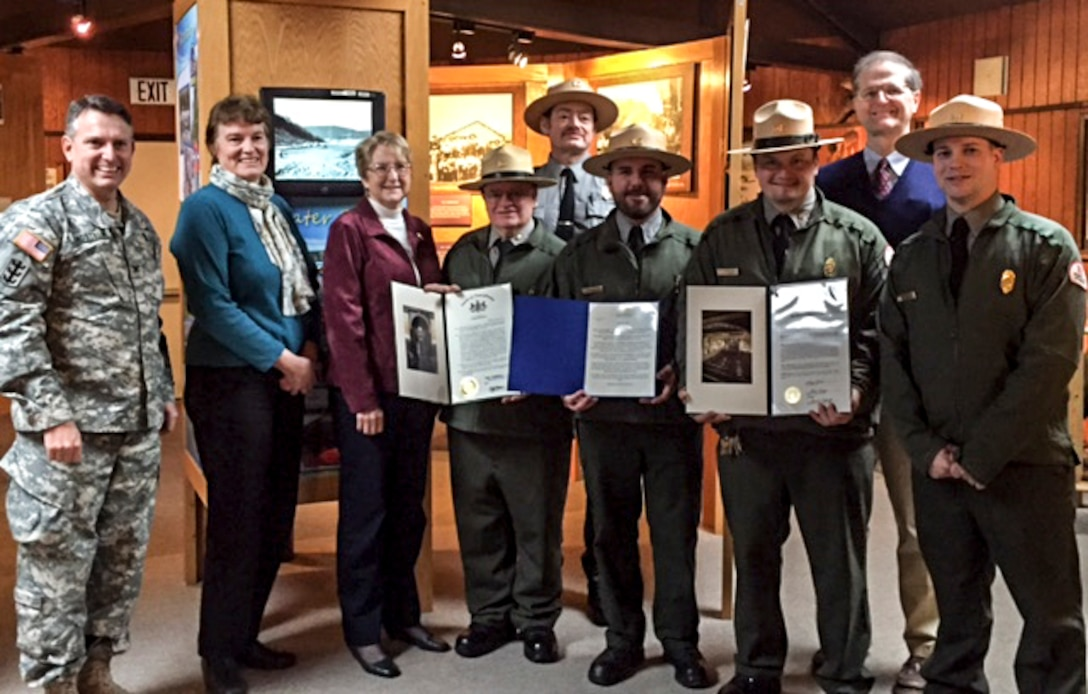 During the 75th anniversary open house, Col. Bernard Lindstrom, U.S Army Corps of Engineers Pittsburgh District commander, presented members of the Tionesta Lake staff with awards, Jan. 9.