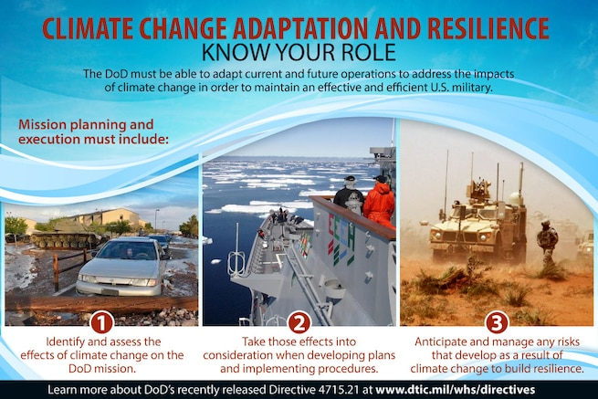 The Defense Department must be able to adapt current and future operations to address the impacts of climate change in order to maintain an effective and efficient U.S. military.
