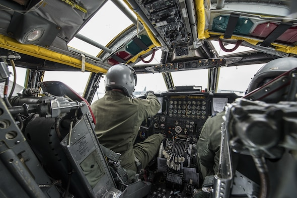 Pilots from the 69th Bomb Squadron go through a pre-flight checklist inside the cockpit of a B-52H Stratofortress before a training sortie at Minot Air Force Base, N.D., Jan. 14, 2016. Bomber Airmen work around the clock in all weather conditions in order to provide B-52H Stratofortress firepower on demand. (U.S. Air Force photo/Airman 1st Class J.T. Armstrong)
