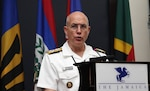 U.S. Navy Adm. Kurt Tidd, commander of U.S. Southern Command, speaks to attendees of the 14th Caribbean Nations Security Conference in Kingston, Jamaica, Jan. 27, 2016. More than 100 defense, public security and government leaders and experts from 18 nations attended the three-day event for talks on regional capacity and cooperation to counter regional threats. Army photo by Jose Ruiz