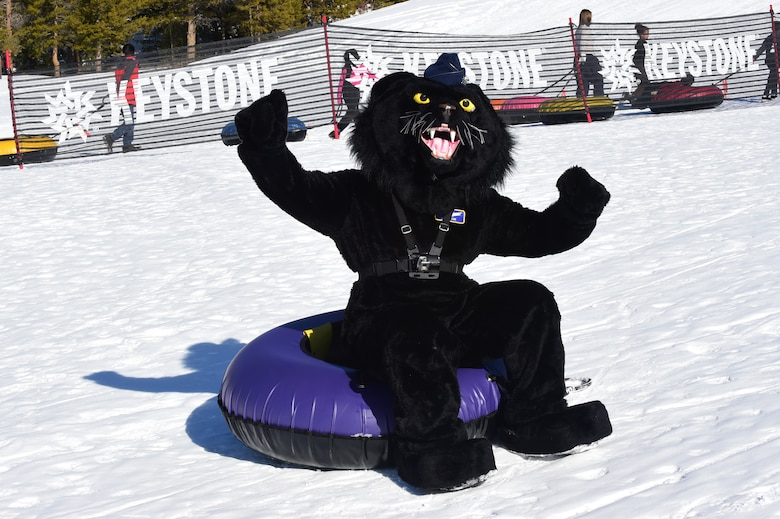 Buck Lee, 460th Space Wing mascot, poses for a photo during Snofest Jan. 23, 2016, at Keystone Resort, Colo. Snofest is a military appreciation event at Keystone Resort for the Front Range Military Bases, which includes skiing, snowboarding and many discounts for military members. (U.S. Air Force photo by Airman 1st Class Gabrielle Spradling/Released)
