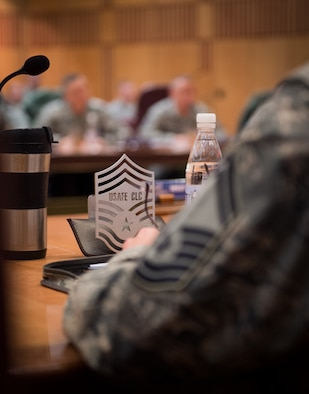 Chief master sergeant selects listen to Chief Master Sgt. Kaleth Wright, 3rd Air Force command chief, during a leadership course at Ramstein Air Base, Germany, Jan. 28, 2016. The Chiefs' Leadership Course offers senior level mentoring to the attending chief selects, gaining invaluable command specific perspectives, mission awareness and objectives. (U.S. Air Force photo/ Tech. Sgt. Ryan Crane)