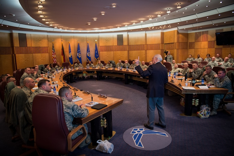 Retired Chief Master Sgt. of the Air Force Sam Parish speaks to a group of chief master sergeant selects during a leadership course at Ramstein Air Base, Germany, Jan. 26, 2016. The Chiefs' Leadership Course offers senior level mentoring to the attending chief selects, gaining invaluable command specific perspectives, mission awareness and objectives. (U.S. Air Force photo/ Tech. Sgt. Ryan Crane)