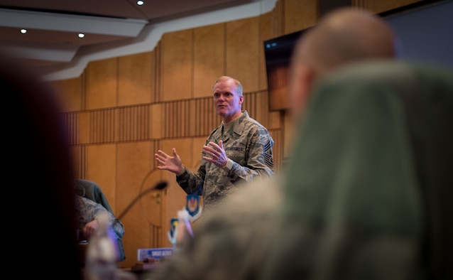 Chief Master Sgt. of the Air Force James A. Cody speaks to a group of chief master sergeant selects during a leadership course at Ramstein Air Base, Germany, Jan. 26, 2016. The Chiefs' Leadership Course offers senior level mentoring to the attending chief selects, gaining invaluable command specific perspectives, mission awareness and objectives. (U.S. Air Force photo/ Tech. Sgt. Ryan Crane)