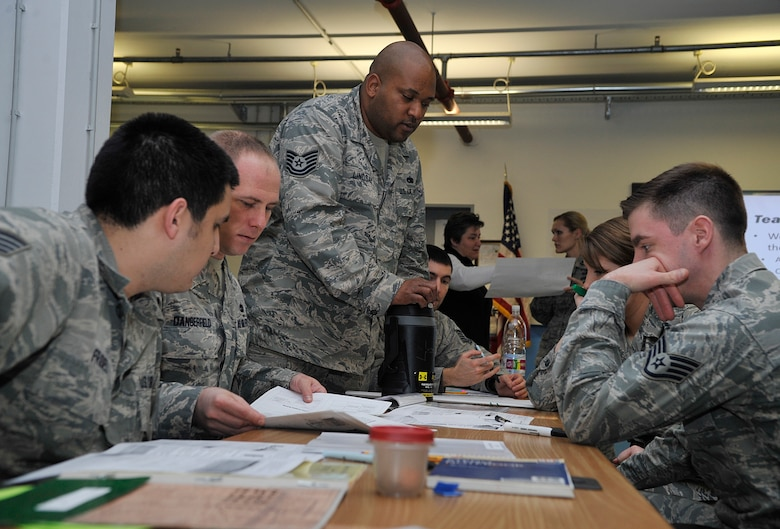 A team of Airmen work together during a Problem Identification Training scenario Jan. 12, 2016, at Ramstein Air Base, Germany. Teams began with a simulated problem and learned how to fix it in a more efficient and effective manner. These tools can help them innovate new ways of improving processes already in place in their units. In March, Innovation Madness recognizes those Airmen with innovations and ideas improving their units and the Air Force as a whole.   (U.S. Air Force photo/Airman 1st Class Larissa Greatwood)