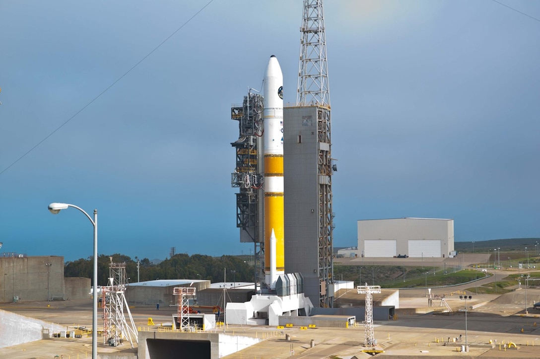 The Mobile Service Tower (MST) is rolled back at Space Launch Comlex-6 in preparation for launch of a United Launch Alliance Delta IV carrying the NROL-25 mission for the National Reconnaissance Office. (courtesy photo)