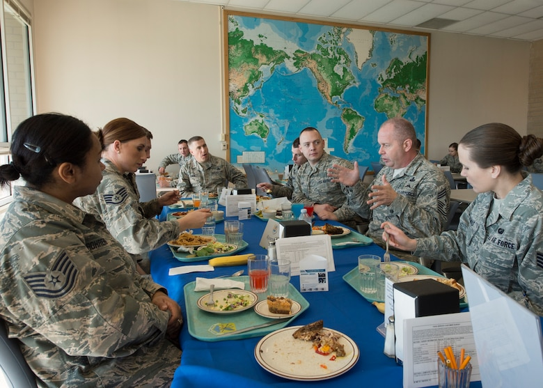Command Chief Master Sergeant of the Air National Guard James W. Hotaling visited the 124th Fighter Wing at Gowen Field, Boise, Idaho, Jan. 9, 2016. Chief Master Sgt. James W. Hotaling took time during the visit to speak with 124th Fighter Wing's junior enlisted Airmen over lunch at the base dining facility. (U.S. Air National Guard Photos by Tech. Sgt. Sarah Pokorney)