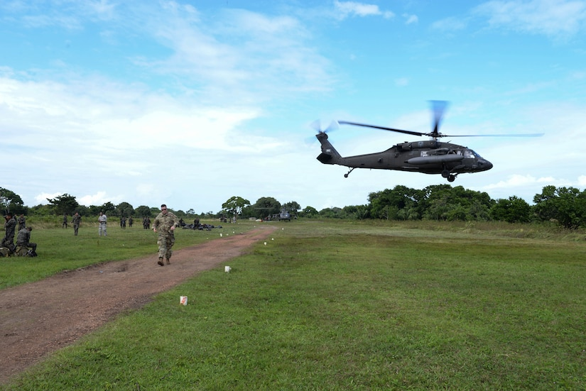 A U.S. Army UH-60 Blackhawk helicopter takes off after loading Honduran troops, in the Gracias a Dios Department (state), Honduras, Jan. 14, 2016. The troops rotate through various operating locations within the department to help counter drug trafficking with the support of the U.S. helicopters for part of the transportation required to reach the outlying locations. (U.S. Air Force photo by Senior Airman Westin Warburton/Released)
